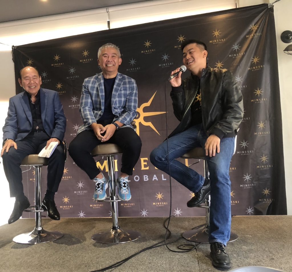 PCCL Chairman Rey Gamboa, PCCL Esports President Chot Reyes, and Mineski Global Founder and CEO Ronald Robins