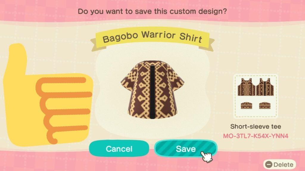 Bagobo warrior shirt custom outfit for Animal Crossing: New Horizons. Image credit: Ayala Museum