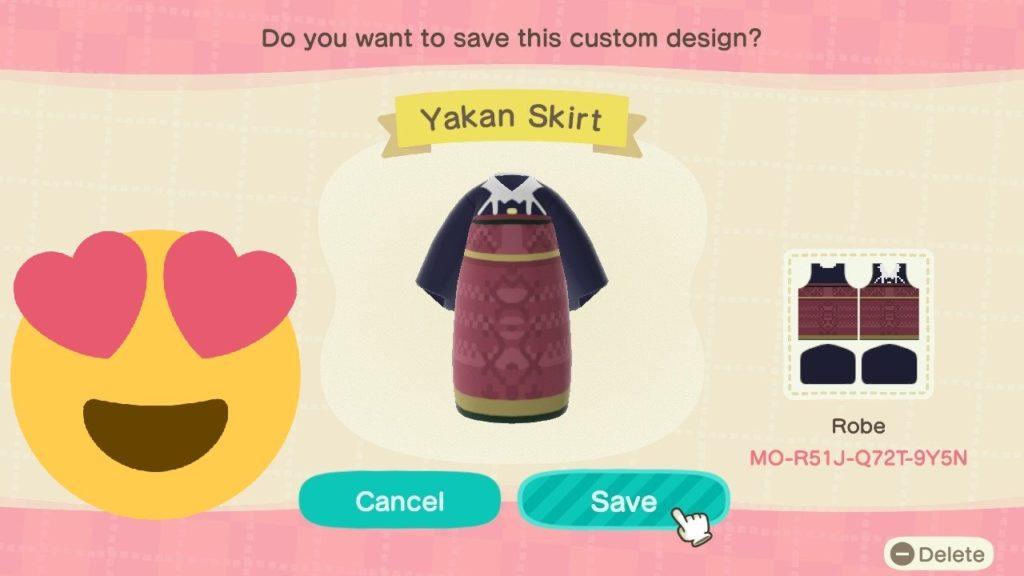 Yakan skirt custom outfit for Animal Crossing: New Horizons. Image credit: Ayala Museum
