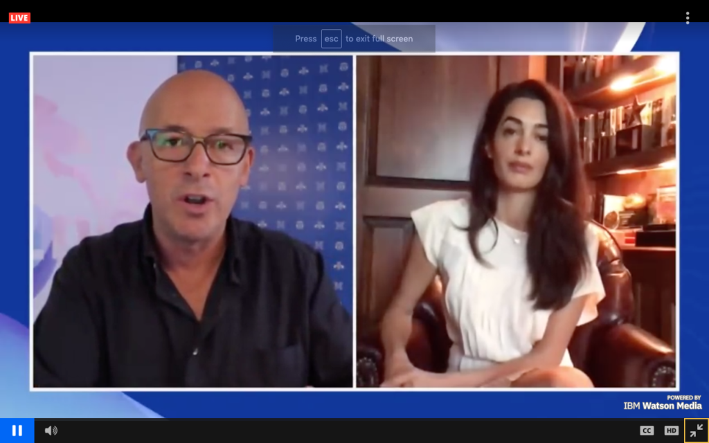 Author and Think Digital host Mark Jeffries interviewing Amal Clooney after her session.