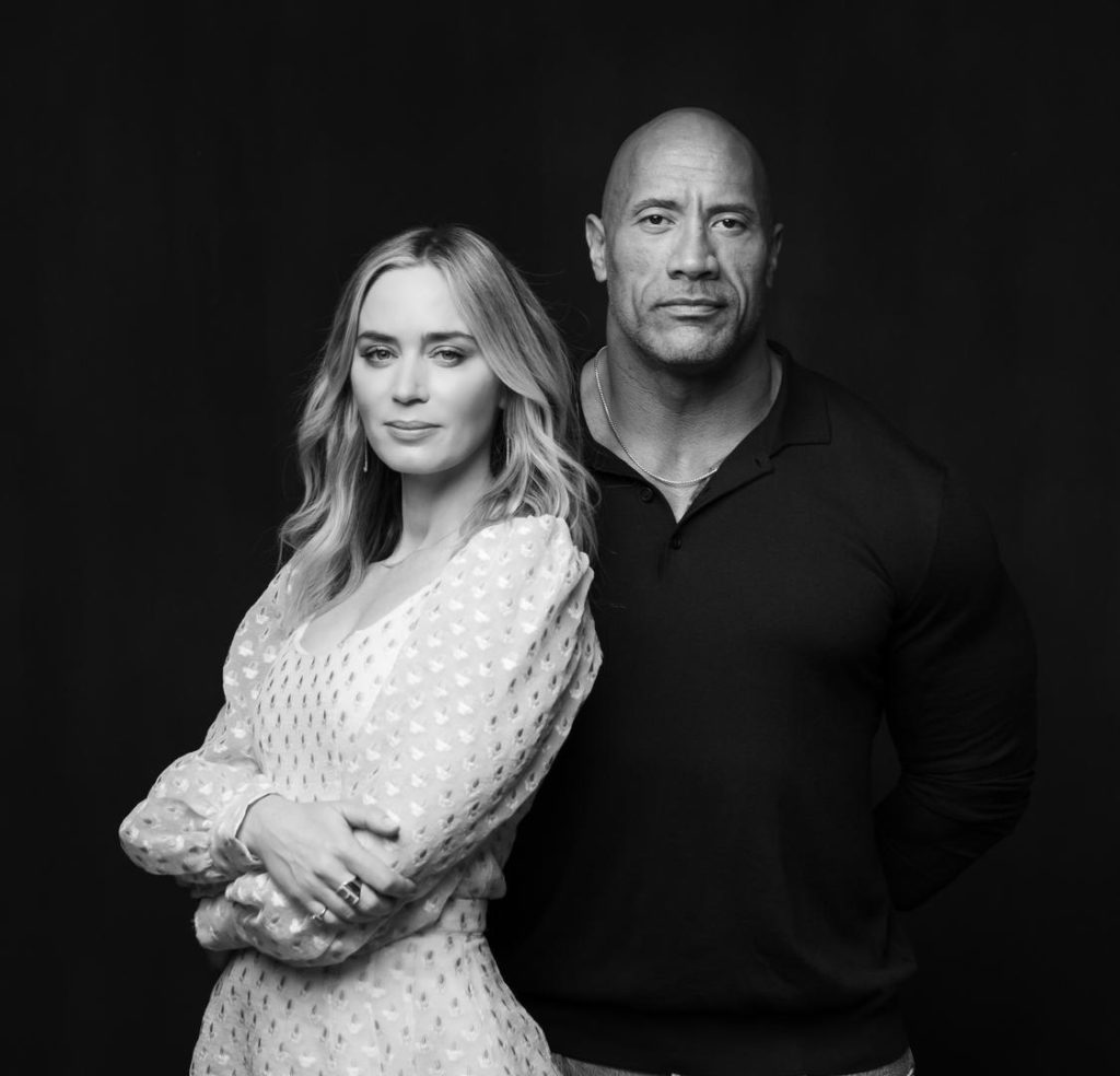 Dwayne Johnson and Emily Blunt will bicker a lot in the superhero film 'Ball and Chain'. Image credit: Hiram Garcia