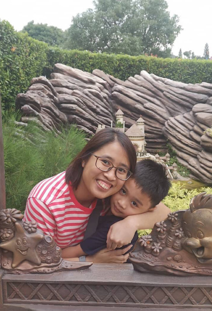 Speech-language pathologist Krizia Anna Castro, shown here with her son Mac, says teletherapy can be as effective as face-to-face sessions.