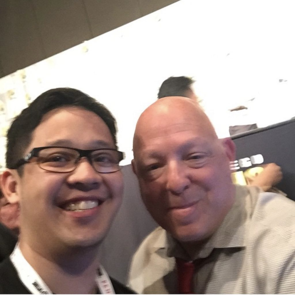 With his favorite comic book writer, Brian Michael Bendis. Image credit: Jiggy Cruz