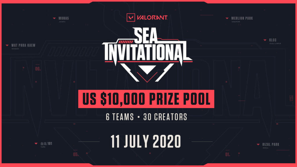 Six teams of five prominent content creators and personalities each from Indonesia, the Philippines, Malaysia, Singapore, Taiwan and Thailand will duke it out in the VALORANT SEA Invitational on  July 11.