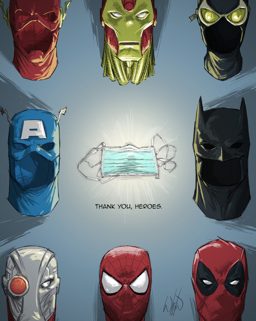 Artwork that Whilce Portacio (X-Men) created for this PPE fundraiser. Image credit: Comic Odyssey