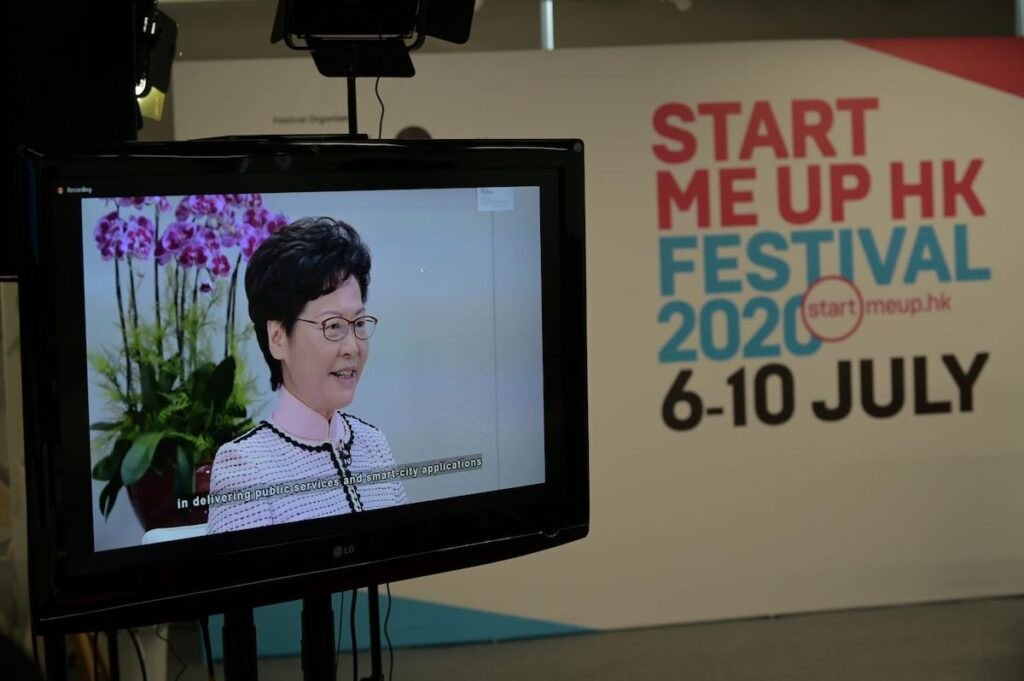 Carrie Lam, Chief Executive, the Hong Kong Special Administrative Region Government, delivered welcome remarks at the Startup Impact Summit.