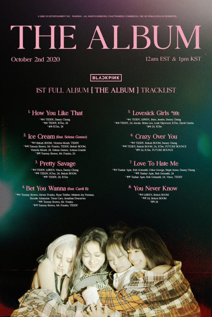 "YG Entertainment officially confirmed the BLACKPINK-Cardi B collab when it unveiled the tracklist poster of ""THE ALBUM"" this morning. Image credit: YG Entertainment"