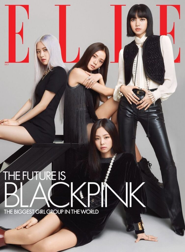 """BLACKPINK is the revolution,"" the K-pop girl group declared when they debuted on August 8, 2016. Now, as they continue their success story, Jisoo, Jennie, Rosé, and Lisa are appearing on the October 2020 cover of the US edition of ELLE, which has declared that ""the future is BLACKPINK"". Image credit: ELLE"