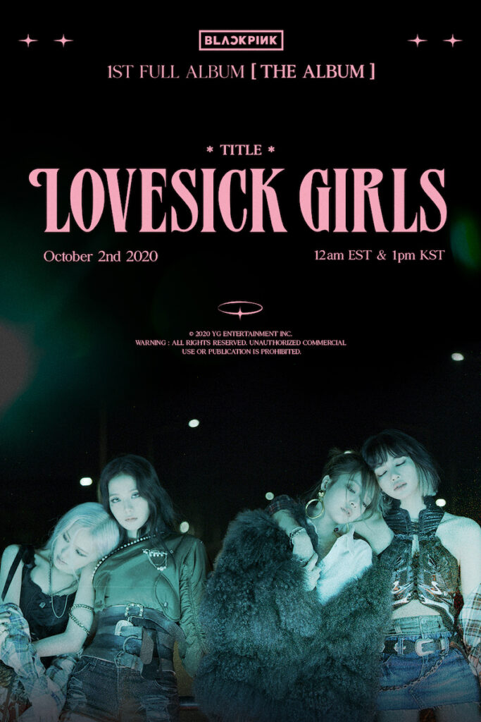 "YG Entertainment has officially confirmed ""Lovesick Girls"" as the title track of ""The Album"", BLACKPINK's highly anticipated first full album in South Korea.Image credit: YG Entertainment"