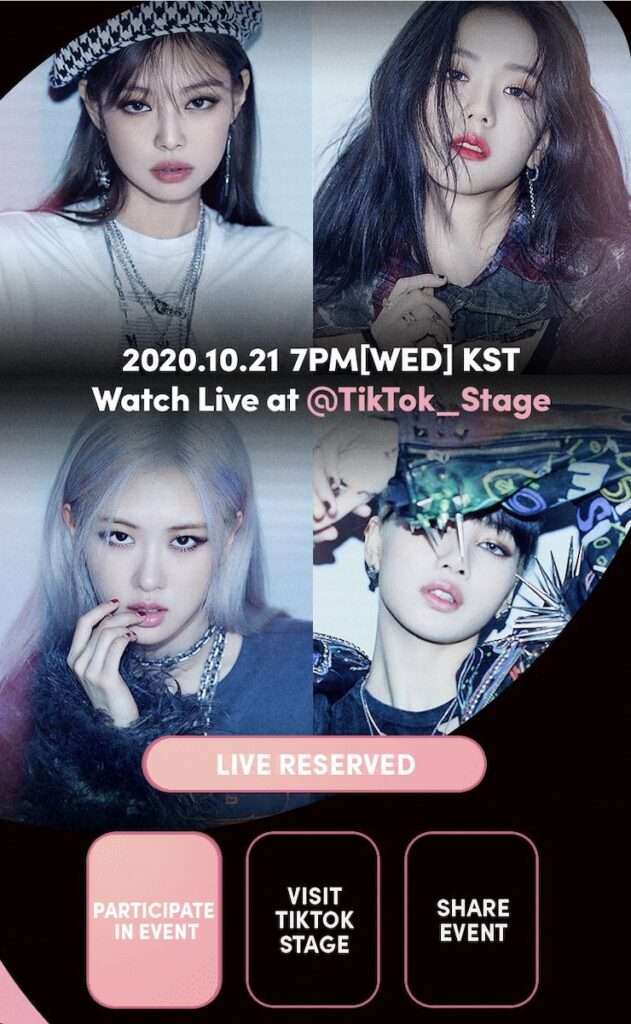 """TikTok Stage with BLACKPINK"" will start streaming at 6 PM Philippine Standard Time on Wednesday, Oct. 21."