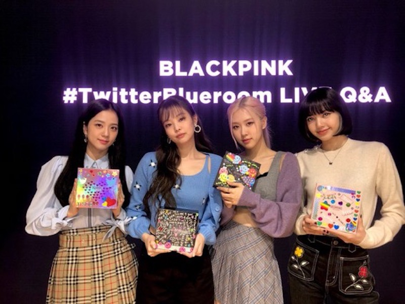 K-pop girl group BLACKPINK held a live Q&A on Oct. 14 via the Twitter Blueroom. Image credit: YG Entertainment