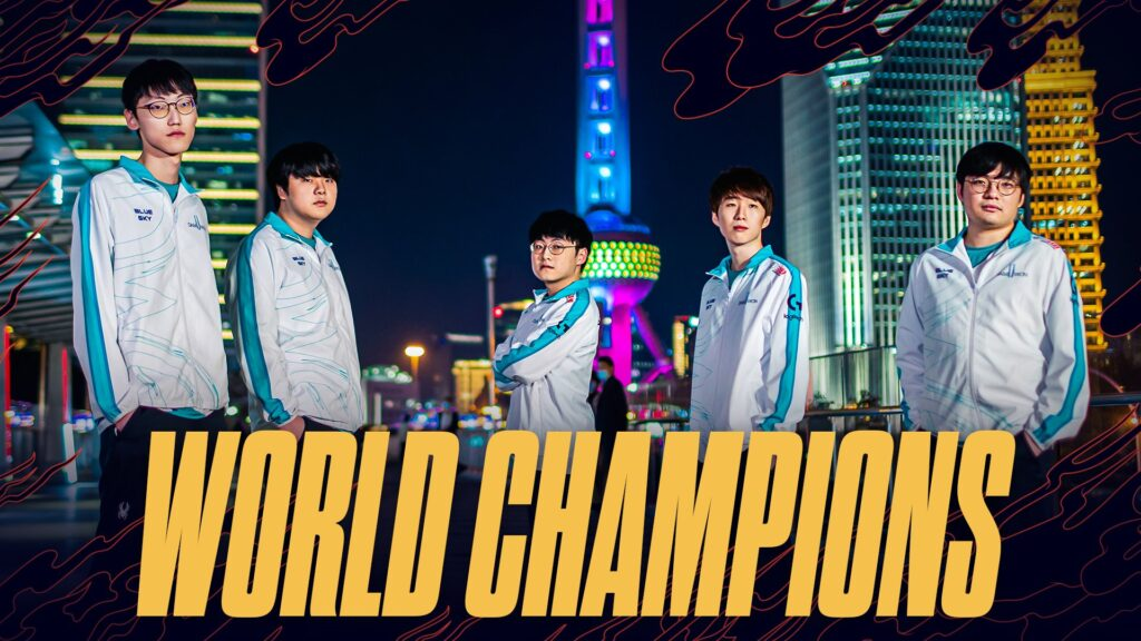 DAMWON Gaming, the first South Korean team to reach the League of Legends World Championship Finals in three years, defeated Suning, 3-1. Image credit: Riot Games
