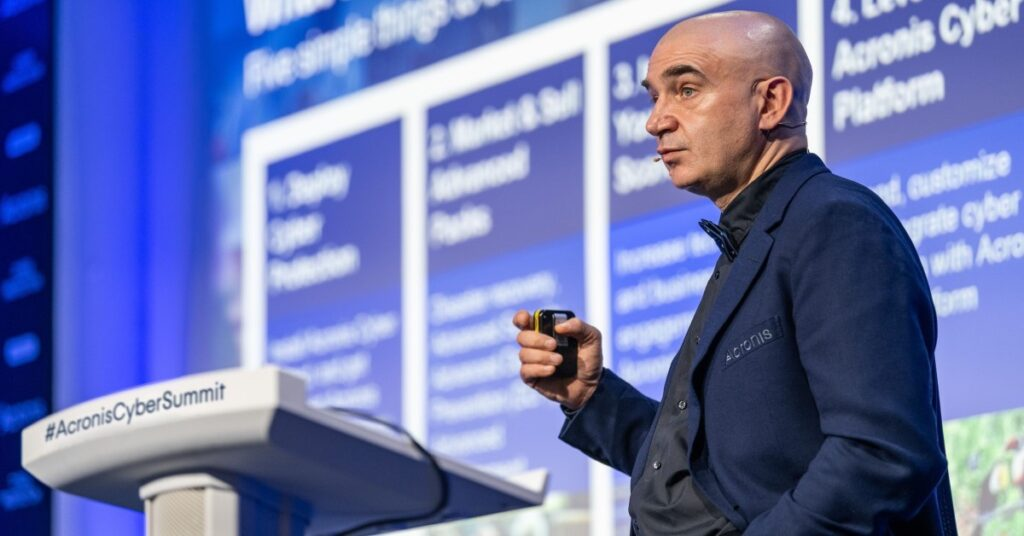 "Acronis Founder and CEO Serguei ""SB"" Beloussov at the Acronis Global Cyber Summit 2020, where the Acronis #CyberFit Academy initiative was announced."
