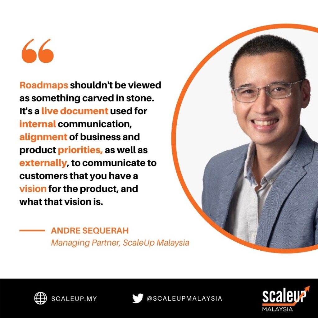 What every entrepreneur should know about roadmaps. ScaleUp Malaysia Managing Partner Andre Sequerah shared this insight during the Cohort 2 Product Management session. Image credit: ScaleUp Malaysia