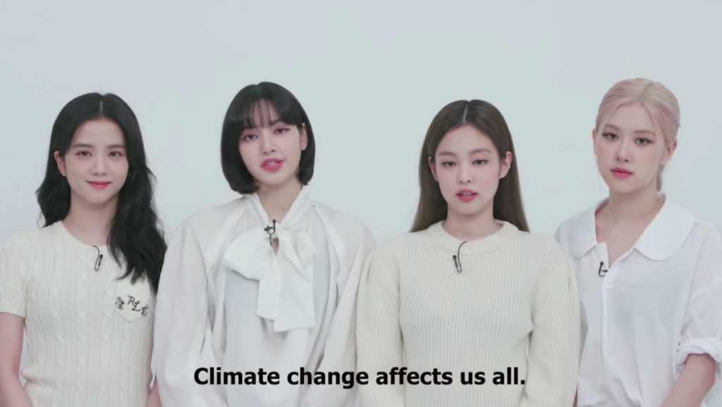 K-pop girl group BLACKPINK is leveraging its global popularity to help raise awareness on climate change and encourage climate action. Image credit: Screenshot of BLACKPINK YouTube video