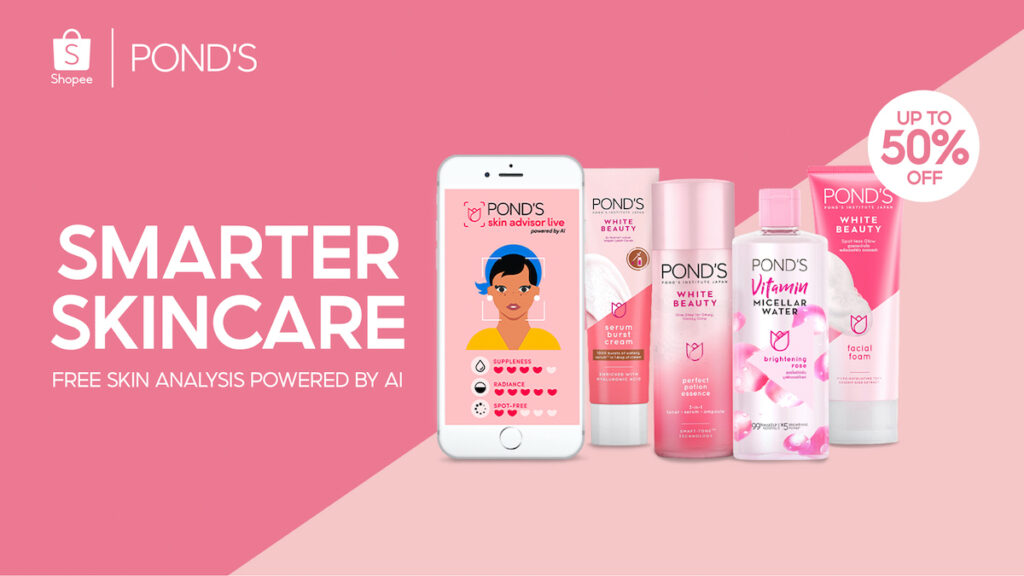 "Ready to enjoy free skin analysis from an AI chatbot? Pond's and Shopee have launched the ""Smarter Skincare Just For You"" regional campaign. Image credit: Shopee"