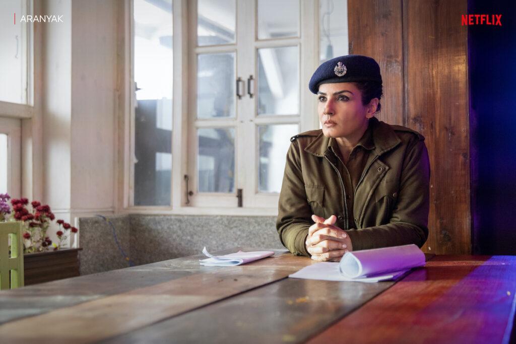 Actress Raveena Tandon stars in the Netflix Original Series 'Aranyak'. Image credit: Netflix