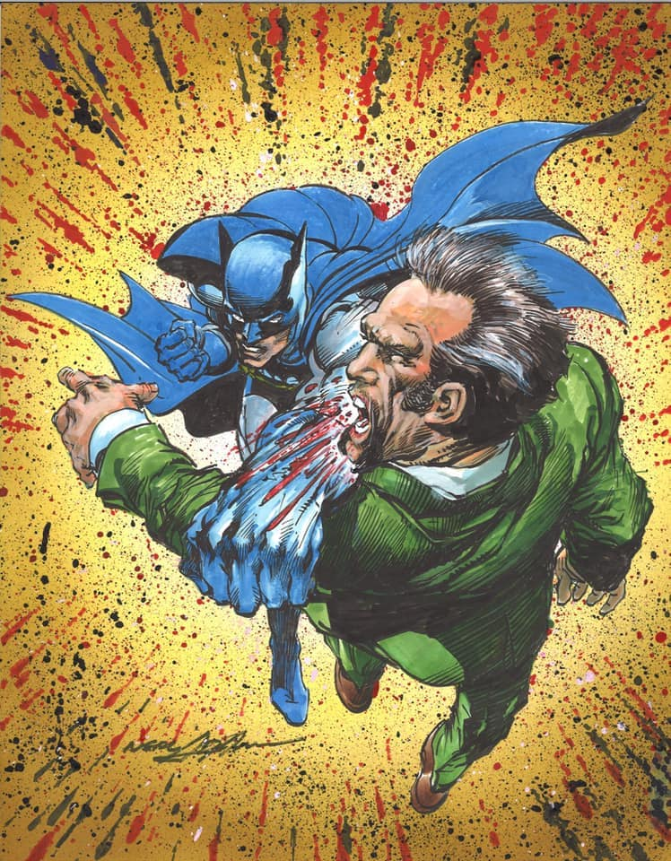 Batman punching Ra's al Ghul original art by Neal Adams. Image credit: Neal Adams official Facebook page