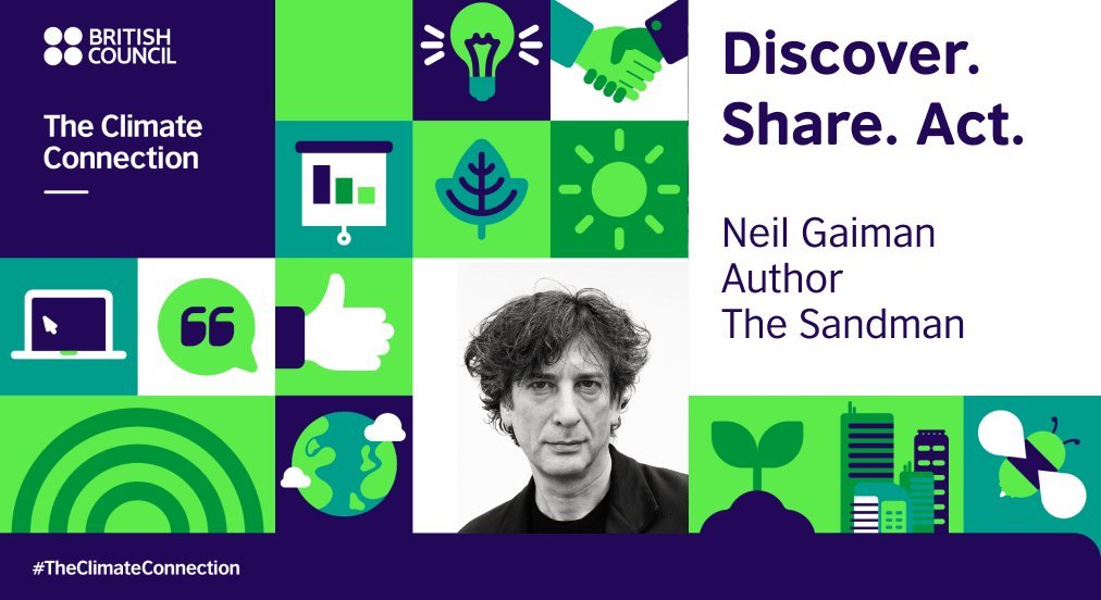 Award-winning author and activist Neil Gaiman, creator of the critically acclaimed The Sandman comic book series, also dreams of a better world. Image credit: British Council