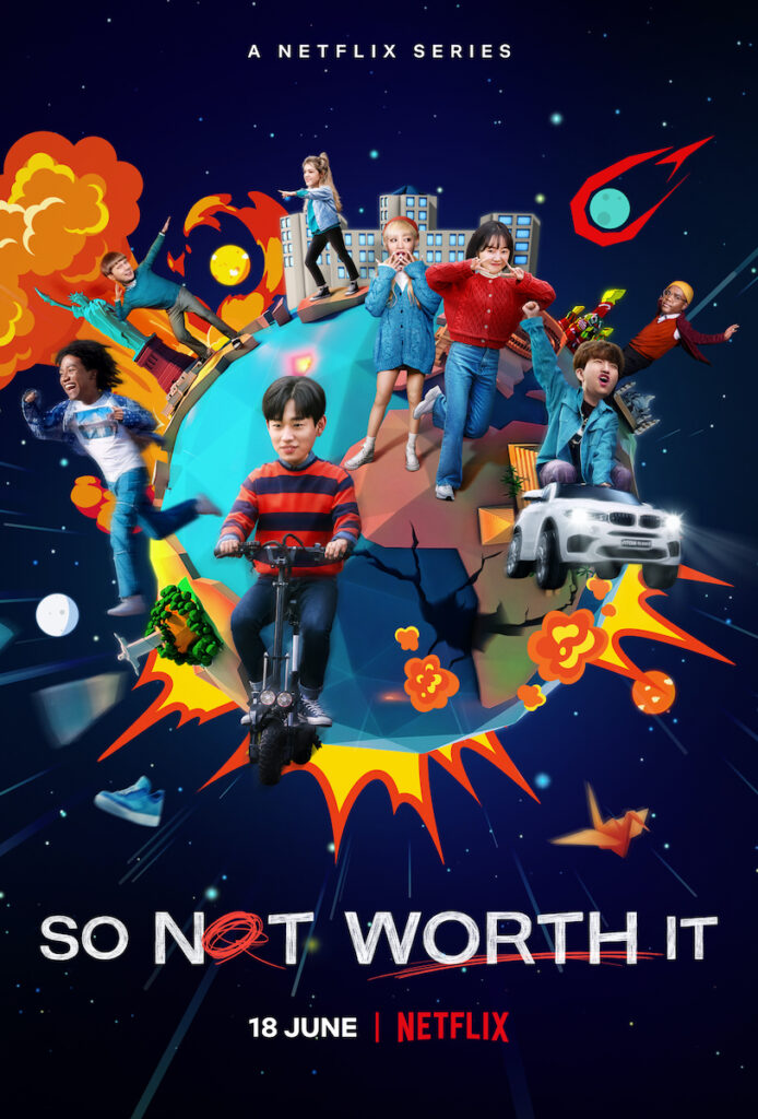 """Not only is """"So Not Worth It"""" making history as Netflix's first K-sitcom, but also it's generating a lot of excitement because of the interesting premise and the presence of not one, but two K-pop idols:  Choi Young-jae (better known as Youngjae) of GOT7 and Minnie of (G)I-DLE. Image credit: Netflix"""
