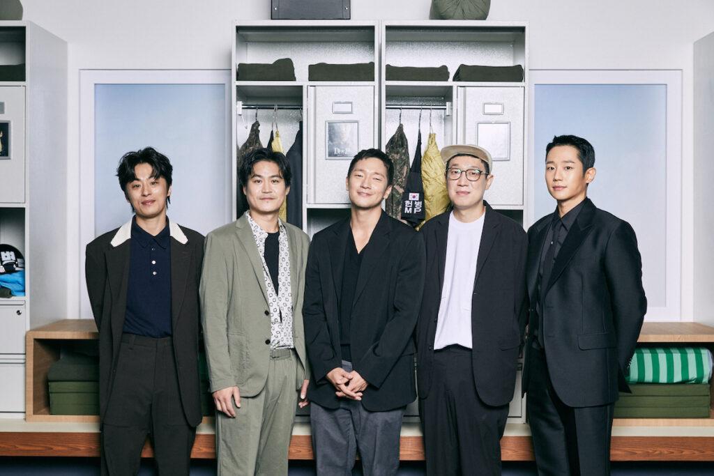 """L-R: Koo Kyo-hwan, Kim Sung-kyun, Son Suk-ku, Han Jun-hee, and Jung Hae-in of """"D.P."""" Image credit: Netflix"""