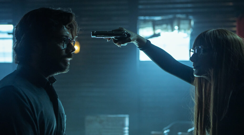 Álvaro Morte as the Professor and Najwa Nimri as Alicia Sierra. Image credit: Manolo Pavón/Netflix