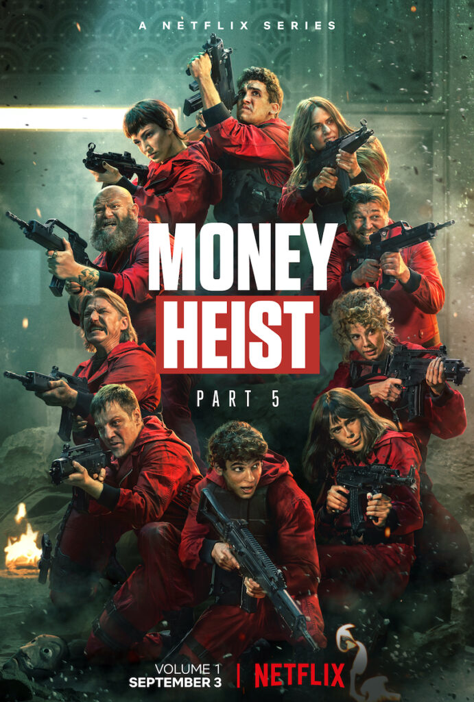 """With an epic instrumental rendition of """"Mad World"""" as background music, the """"Money Heist"""" (""""La casa de papel"""") Season 5 Vol. 1 trailer shows just how desperate the situation is for our beloved band of thieves. Image credit: Netflix"""