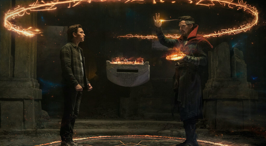 Benedict Cumberbatch stars as Doctor Strange and Tom Holland stars as Spider-Man/Peter Parker in Columbia Pictures' 'Spider-Man': No Way Home'. Image credit: Columbia Pictures