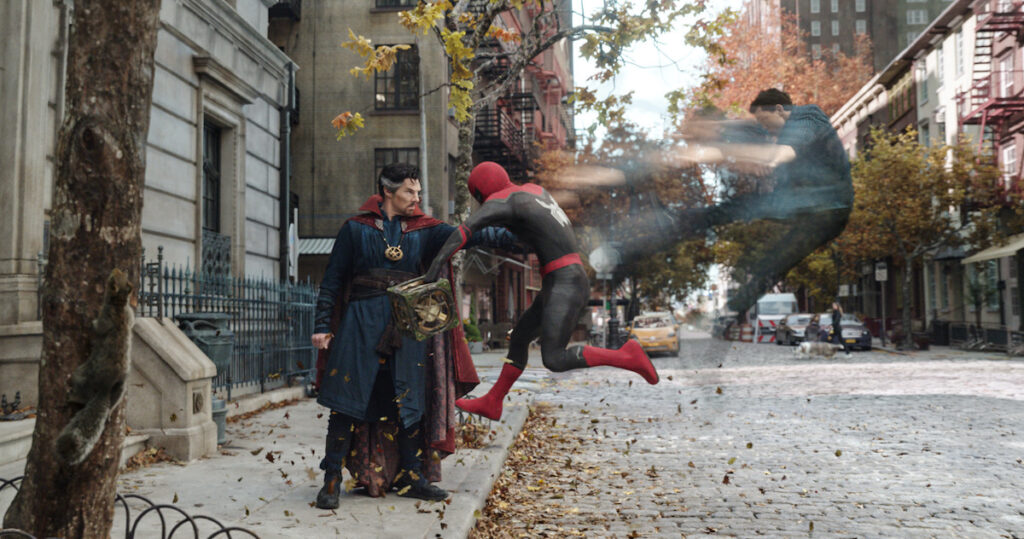 """""""Spider-Man: No Way Home"""" trailer shows Doctor Strange (Benedict Cumberbatch) and Spider-Man/Peter Parker (Tom Holland). Image credit: Columbia Pictures"""