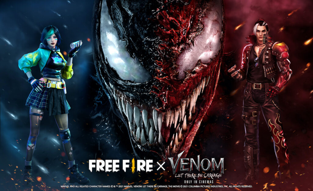 """Chaos is coming as Free Fire meets """"Venom: Let There Be Carnage"""" in the mobile game's first ever collaboration with a movie franchise. Image credit: Garena"""