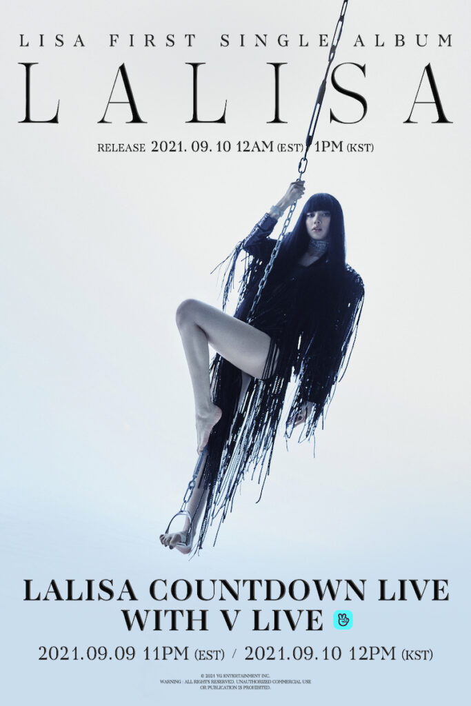"""BLACKPINK main dancer Lisa has scheduled a """"LALISA"""" V LIVE countdown on Sept. 10 at 12 PM Korean Standard Time -- one hour before the launch of her solo debut album. Image credit: YG Entertainment"""